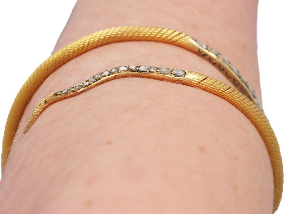 2.05Ct Diamond & Ruby, 22k Yellow Gold 'Snake' Bangle - Antique Egyptian C1860 8