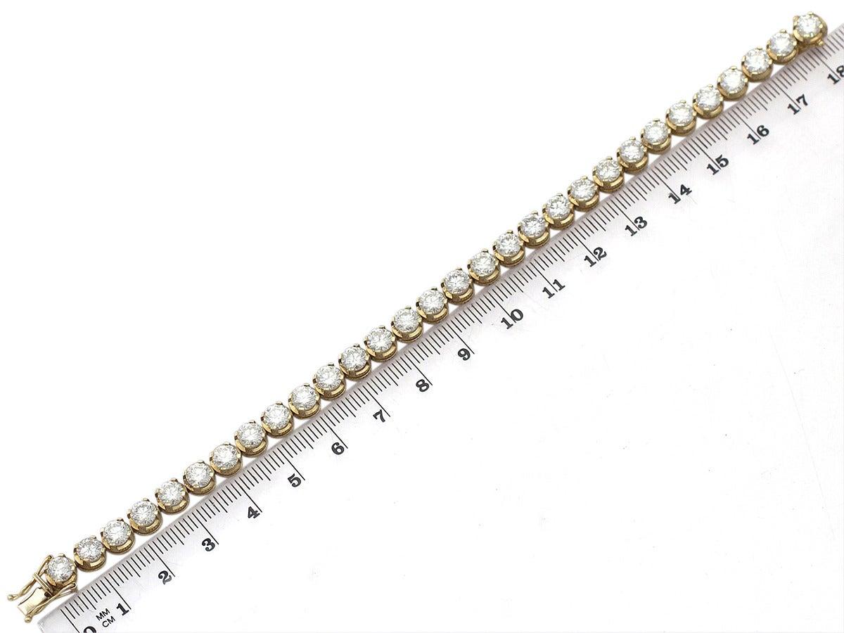 12 00ct Diamond And 18k Yellow Gold Tennis Bracelet
