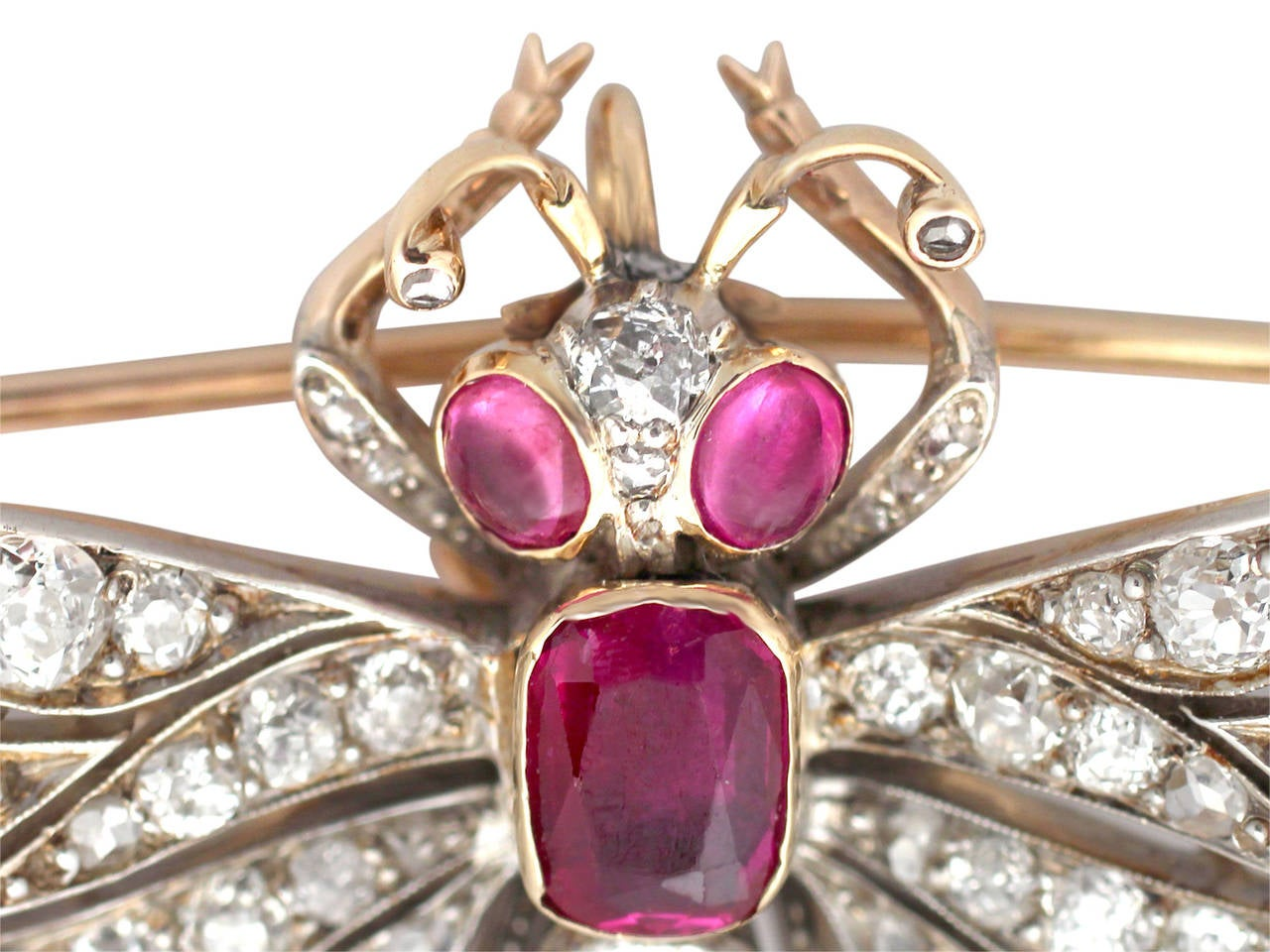 Late Victorian Victorian Ruby Diamond Gold Dragonfly Brooch For Sale