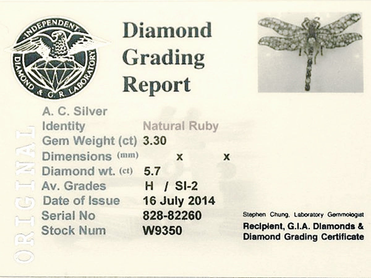 Victorian Ruby Diamond Gold Dragonfly Brooch 8