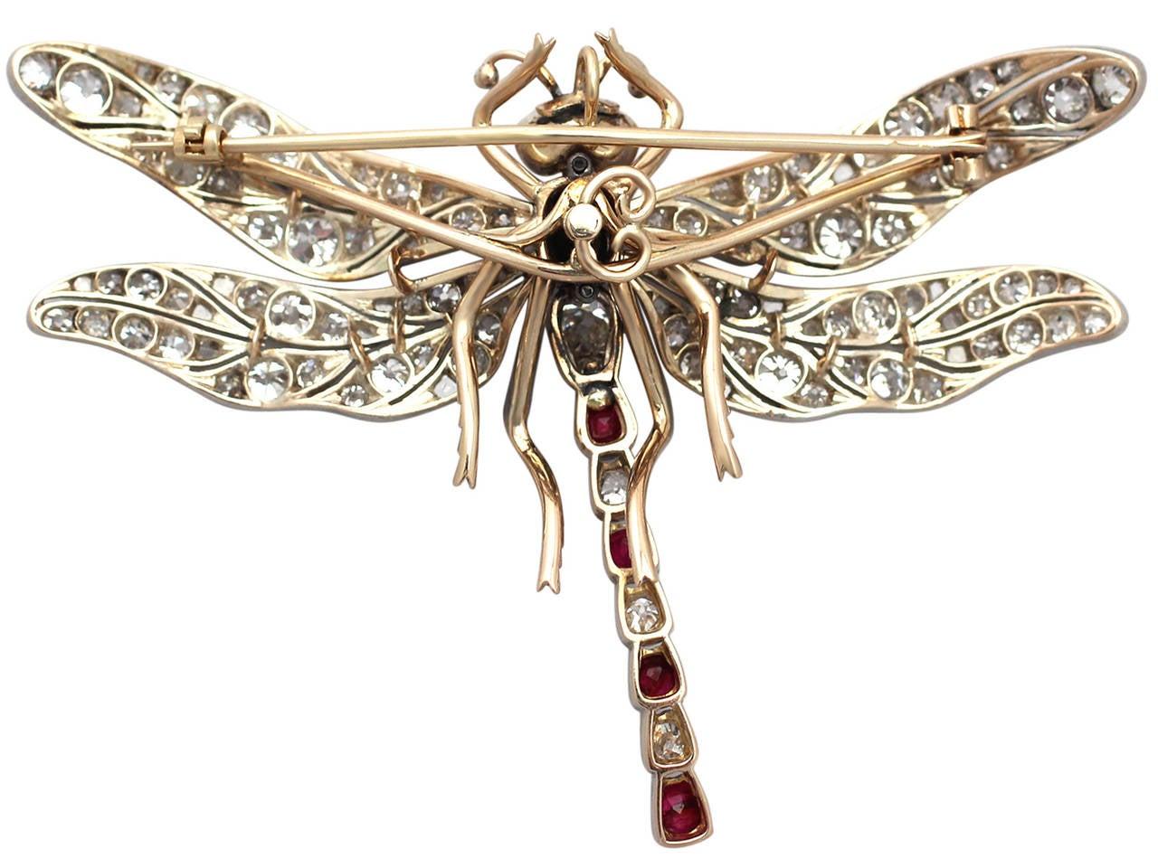 Victorian Ruby Diamond Gold Dragonfly Brooch 6
