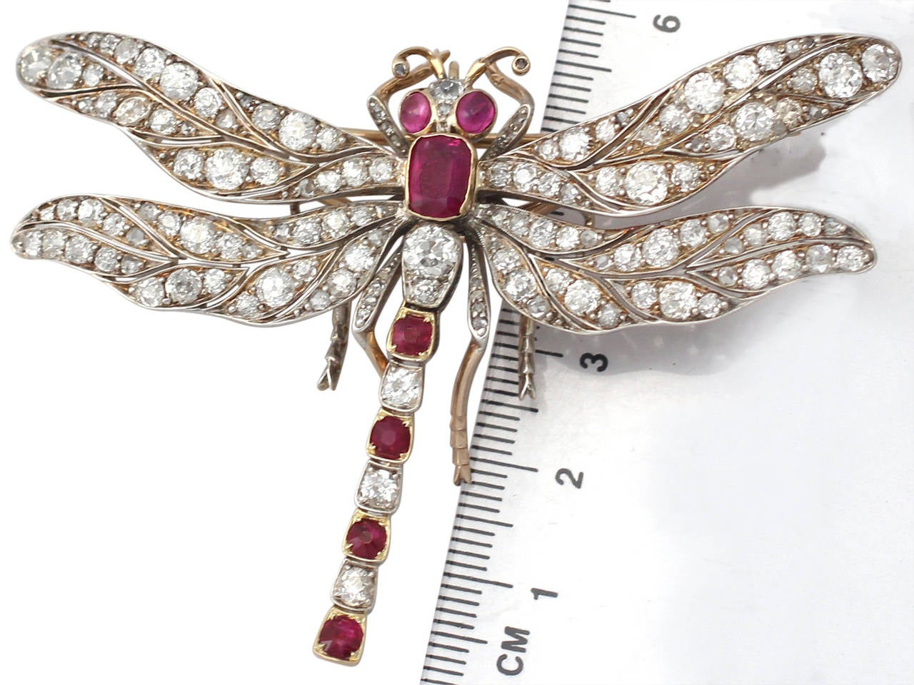Victorian Ruby Diamond Gold Dragonfly Brooch For Sale 2