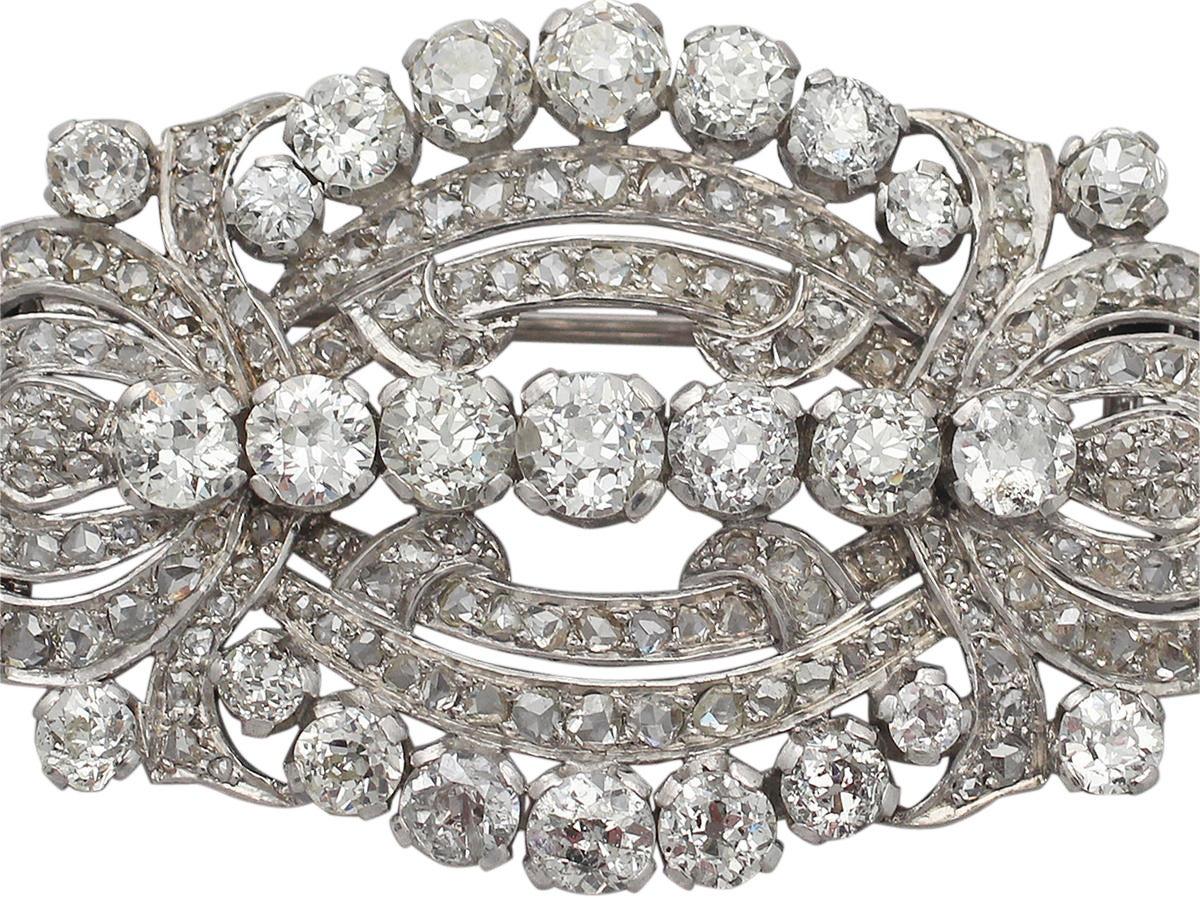 11.21 Carat Diamond and Platinum Brooch, Art Deco Style, Antique, circa 1920 2