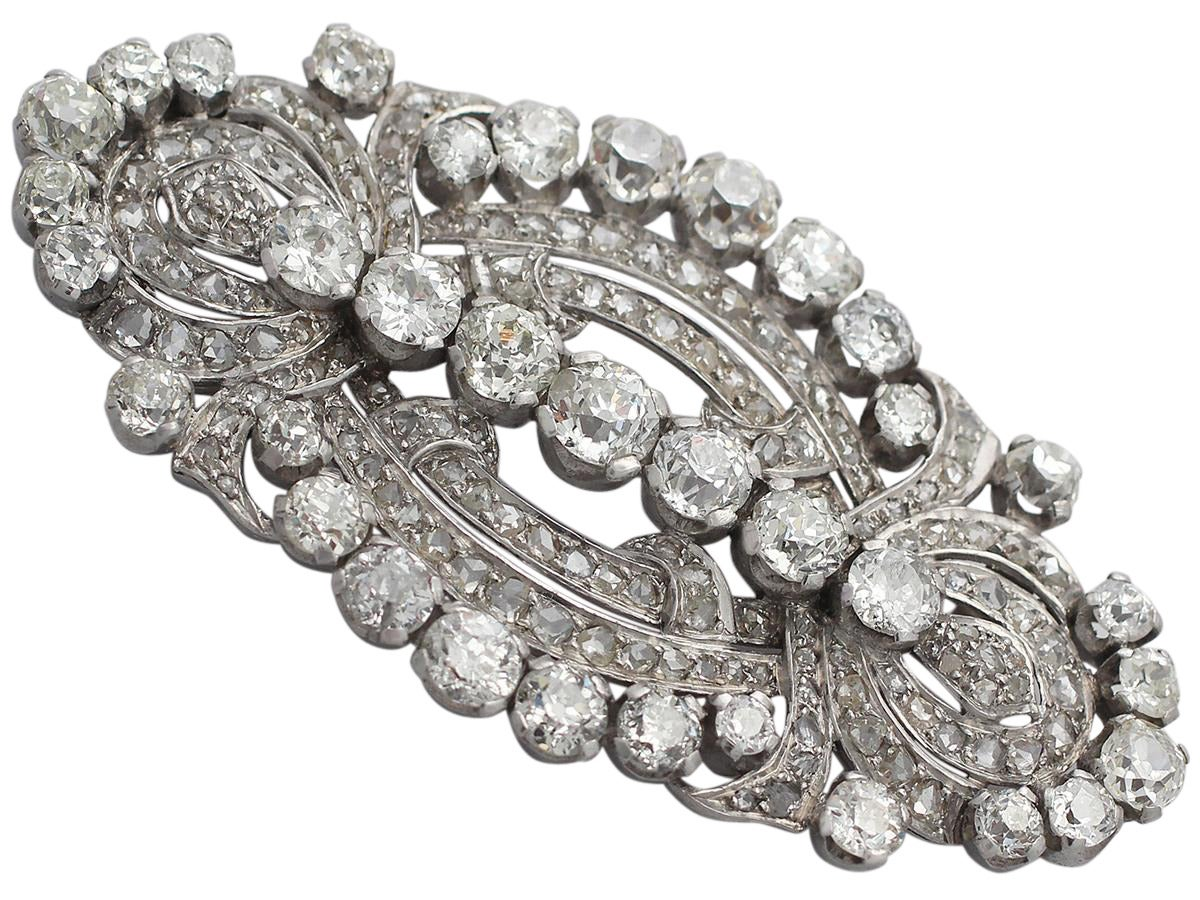 11.21 Carat Diamond and Platinum Brooch, Art Deco Style, Antique, circa 1920 3