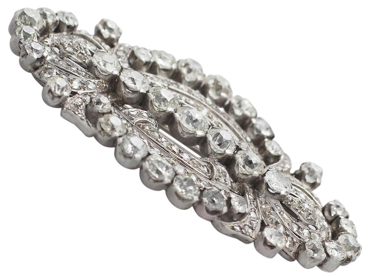 11.21 Carat Diamond and Platinum Brooch, Art Deco Style, Antique, circa 1920 4