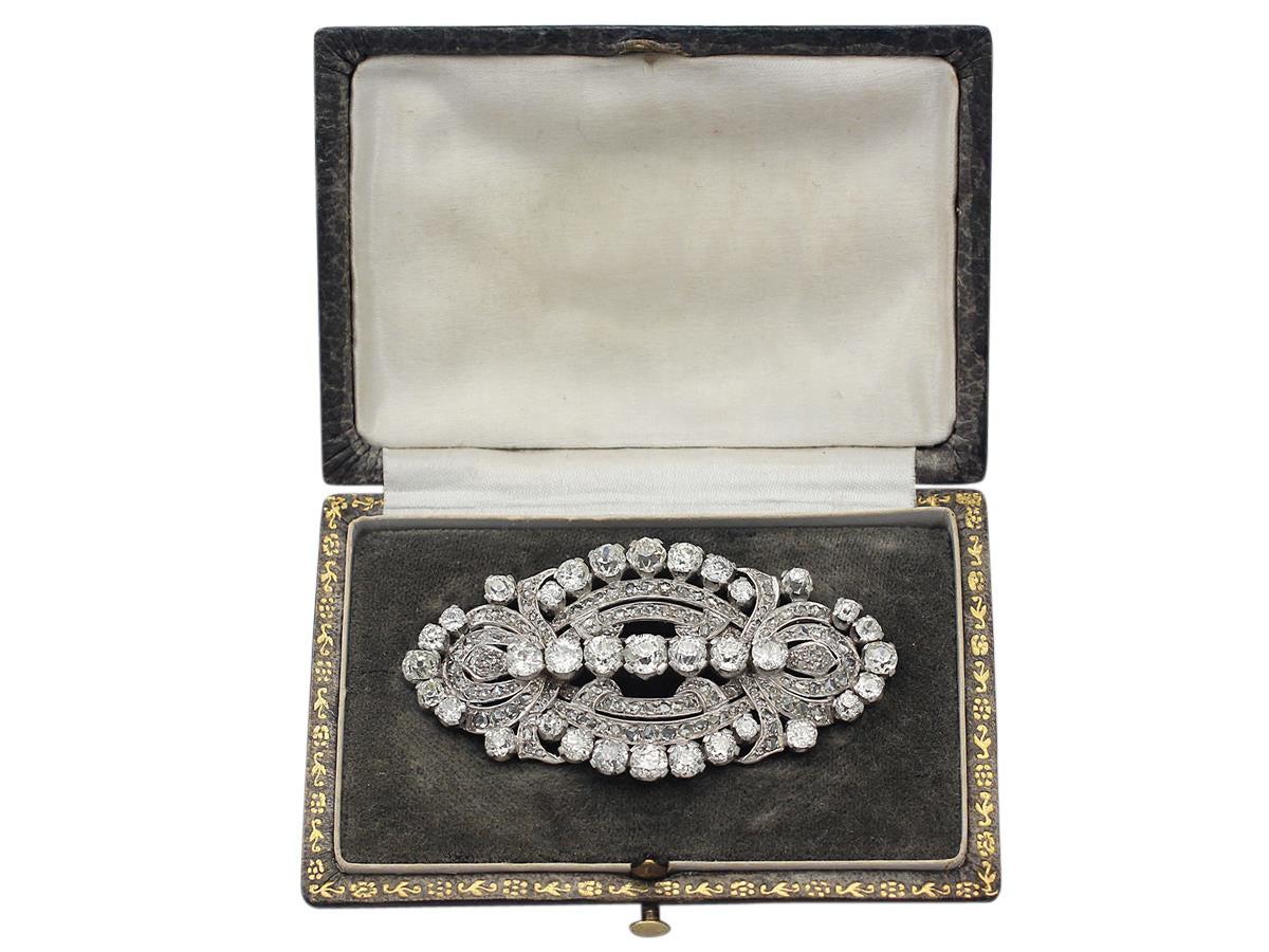 11.21 Carat Diamond and Platinum Brooch, Art Deco Style, Antique, circa 1920 7