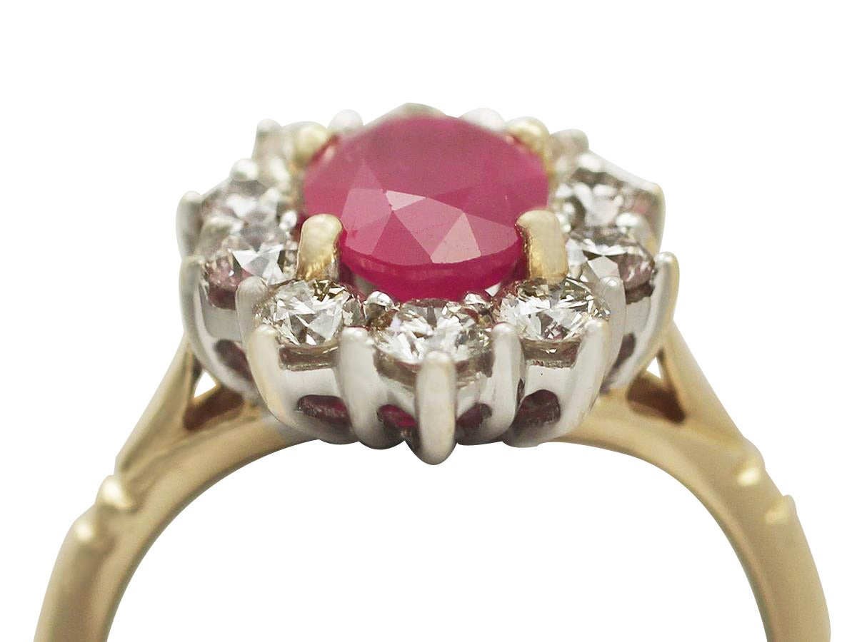188 Carat Ruby And Diamond Yellow Gold Cluster Ring 2