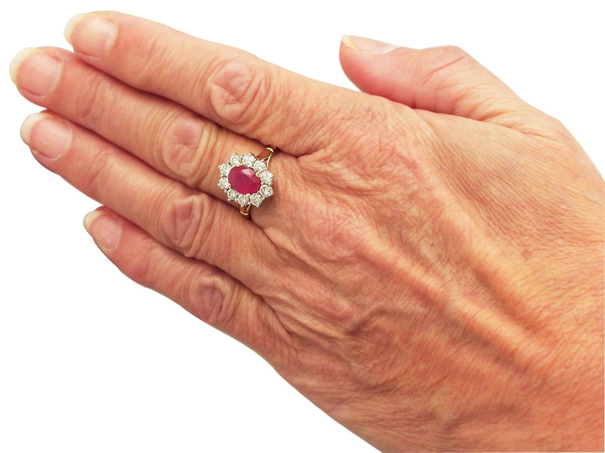 1.88 Carat Ruby and Diamond Yellow Gold Cluster Ring For Sale 2