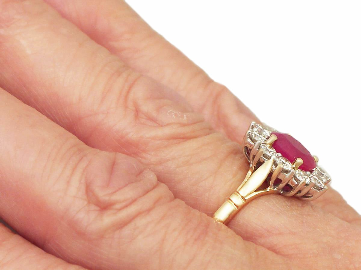 1.88 Carat Ruby and Diamond Yellow Gold Cluster Ring For Sale 3