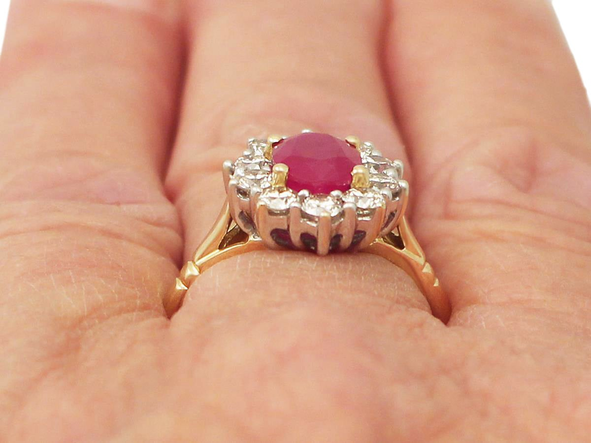 1.88 Carat Ruby and Diamond Yellow Gold Cluster Ring For Sale 4