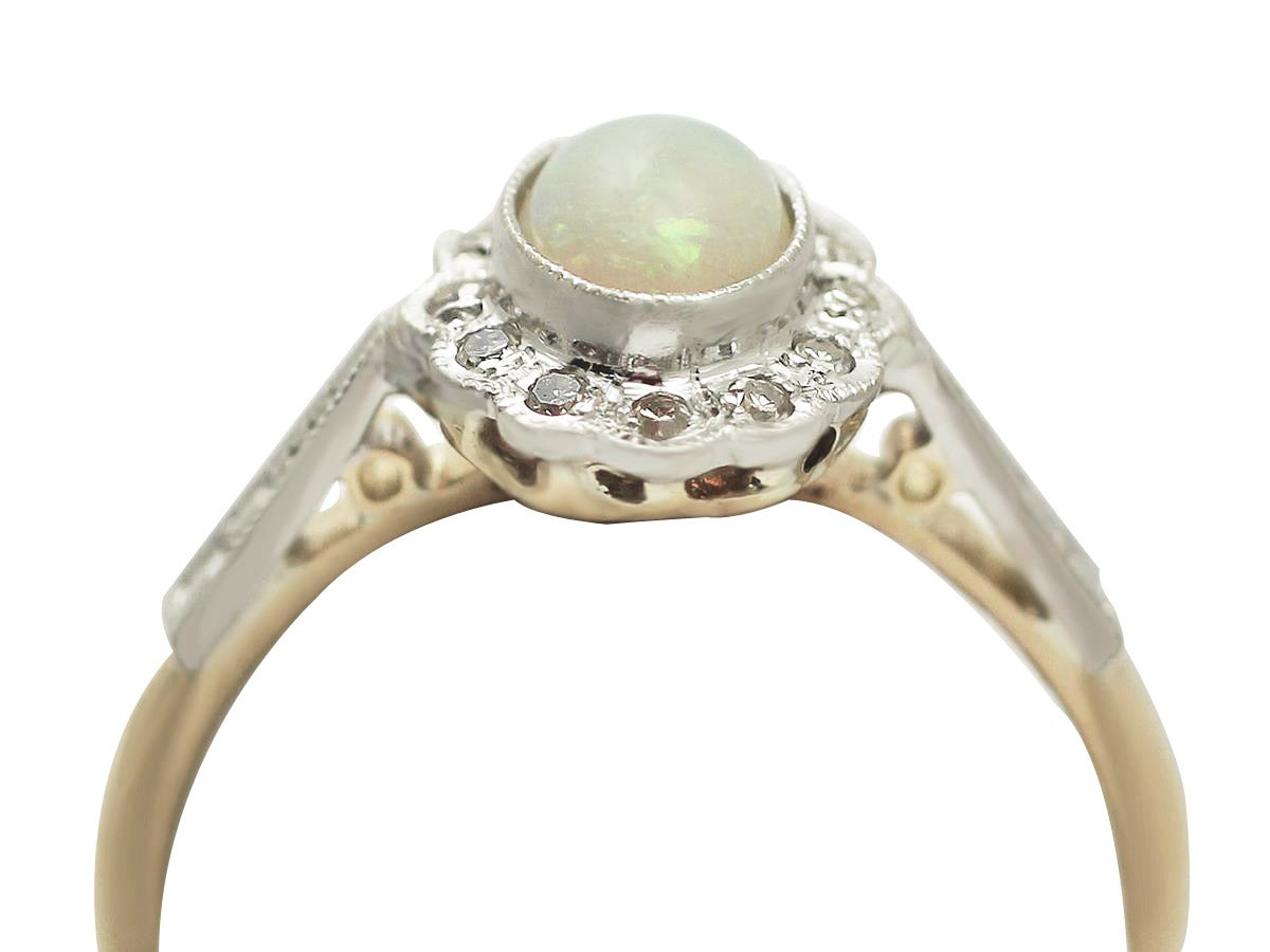 0.48 Ct Opal and 0.15 Ct Diamond, 18 Ct Yellow Gold Cluster Ring - Vintage 2