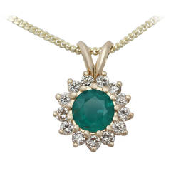 0.89 Ct Emerald and 0.63 Ct Diamond, 18 k Yellow Gold Pendant - Vintage