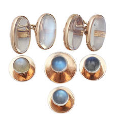 3.68Ct Moonstone and 15k Yellow Gold Gents Dress Set - Antique Victorian