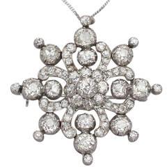 Victorian 8.12 Carat Diamond Gold Brooch Pendant