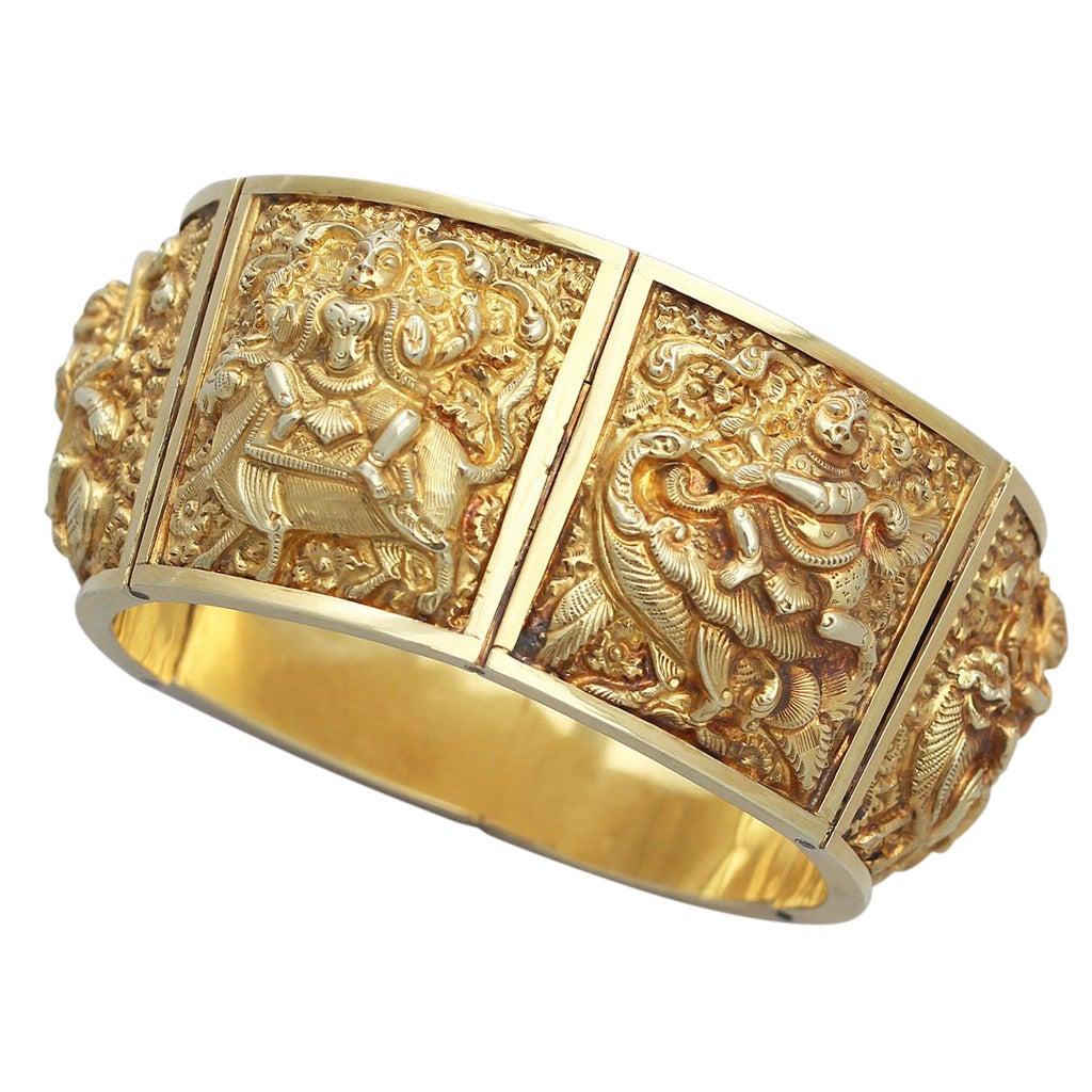 antique gold bangle bracelet india 1880 at 1stdibs
