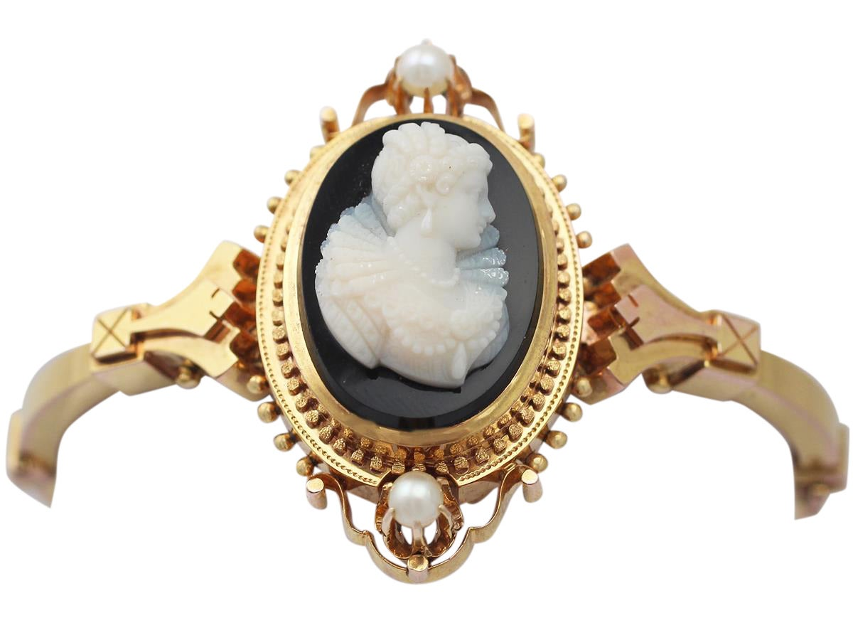 Cameo Bangle/Bracelet with Pearls, 15k Yellow Gold - Antique Victorian 2