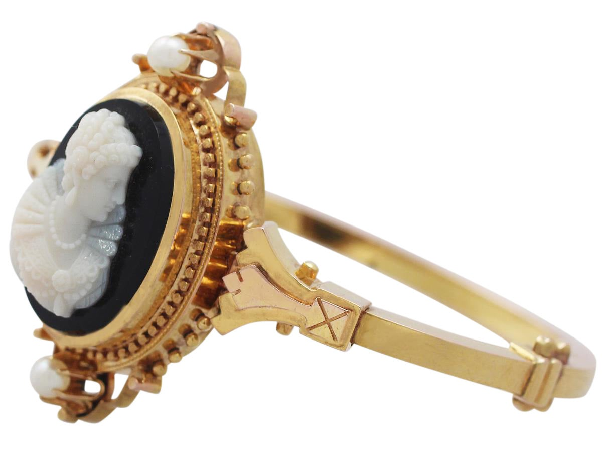 Cameo Bangle/Bracelet with Pearls, 15k Yellow Gold - Antique Victorian 4