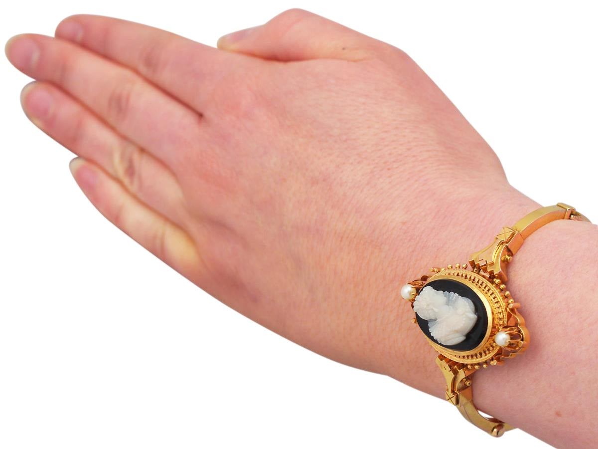 Cameo Bangle/Bracelet with Pearls, 15k Yellow Gold - Antique Victorian 7