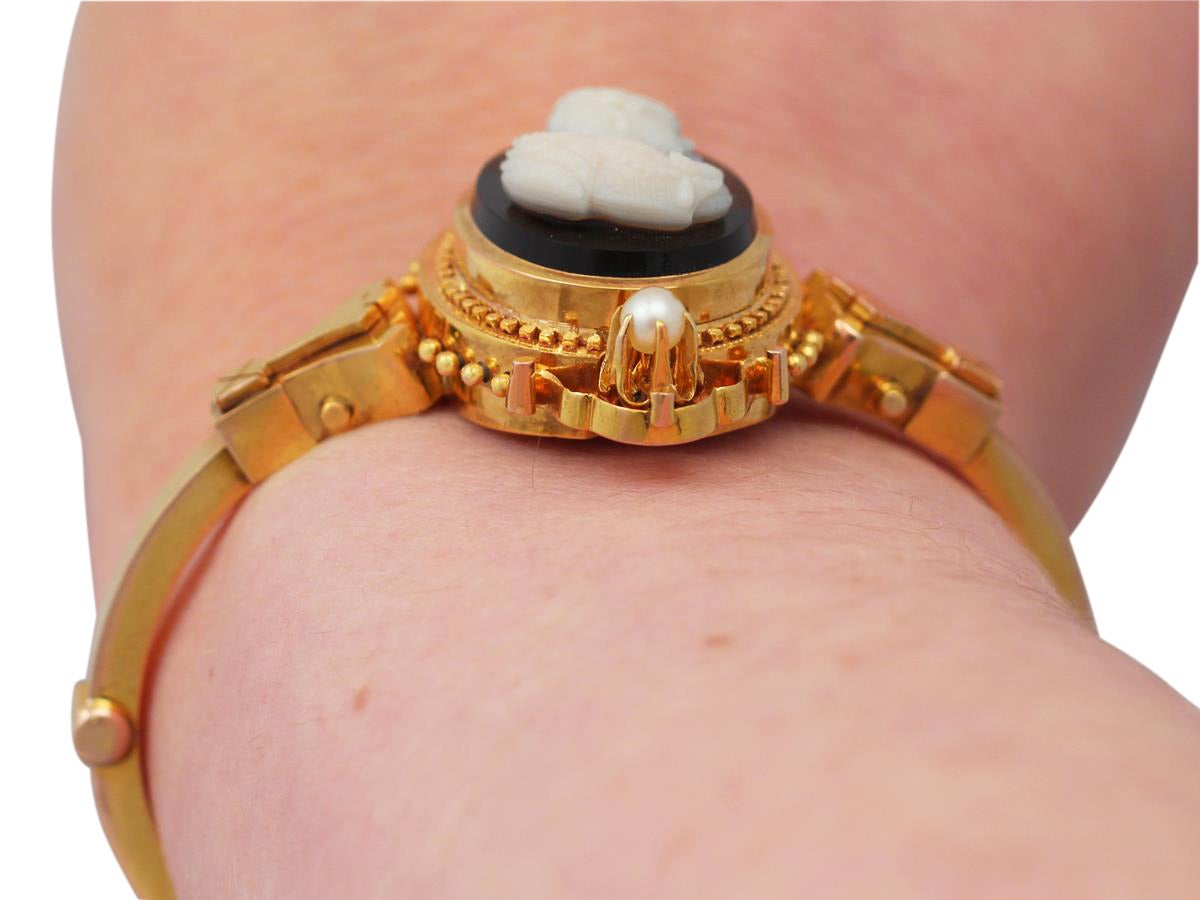 Cameo Bangle/Bracelet with Pearls, 15k Yellow Gold - Antique Victorian 9