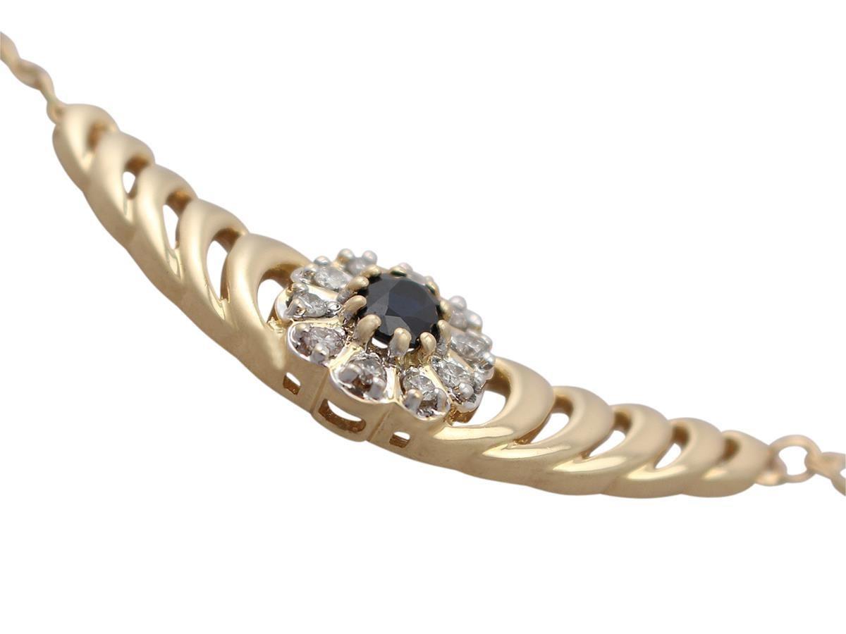 Contemporary 0.36 Carat Sapphire and 0.45 Carat Diamond, 18 Karat Yellow Gold Necklace For Sale