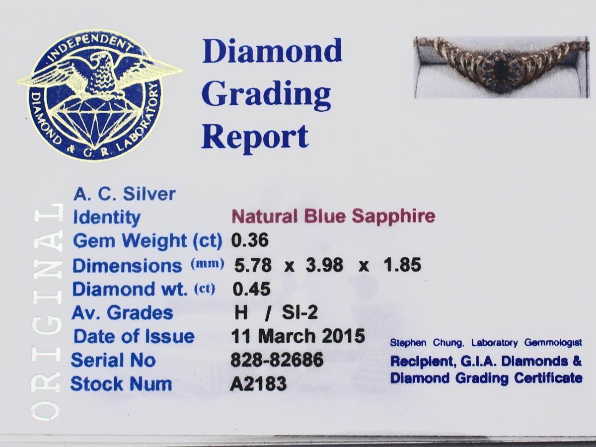 0.36 Carat Sapphire and 0.45 Carat Diamond, 18 Karat Yellow Gold Necklace For Sale 2