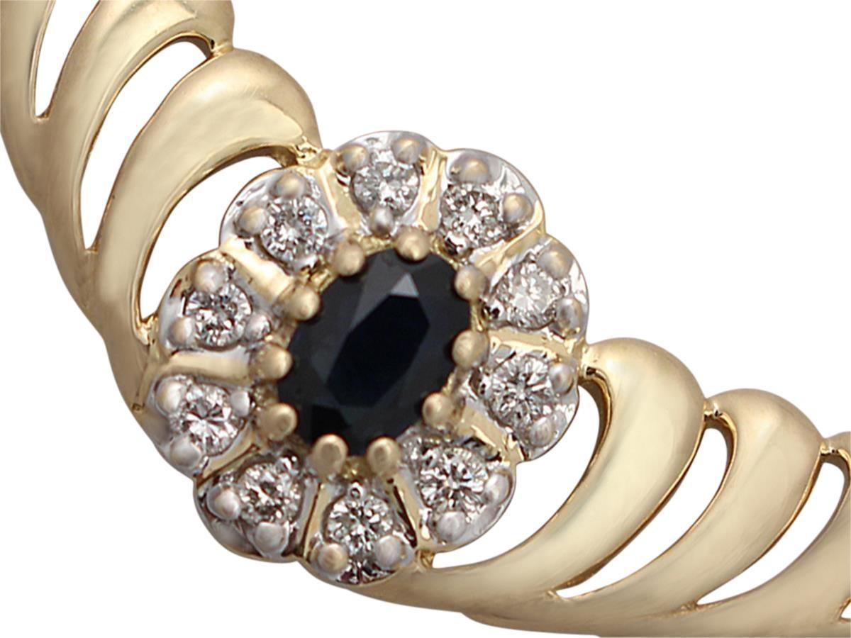 0.36 Carat Sapphire and 0.45 Carat Diamond, 18 Karat Yellow Gold Necklace For Sale 1