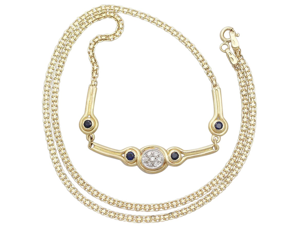 0.15 Ct Diamond and 0.10 Ct Sapphire, 18 k Yellow Gold Necklace 2