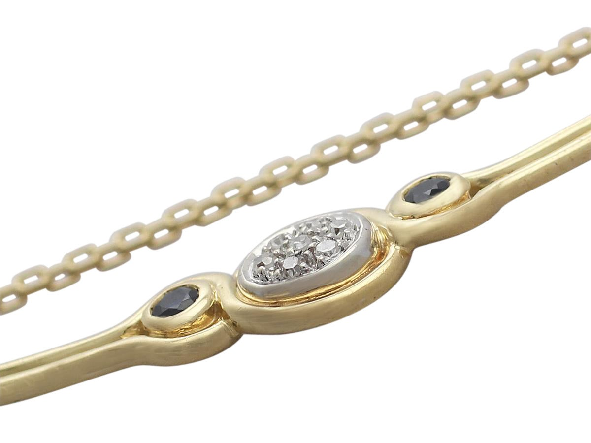 0.15 Ct Diamond and 0.10 Ct Sapphire, 18 k Yellow Gold Necklace 4
