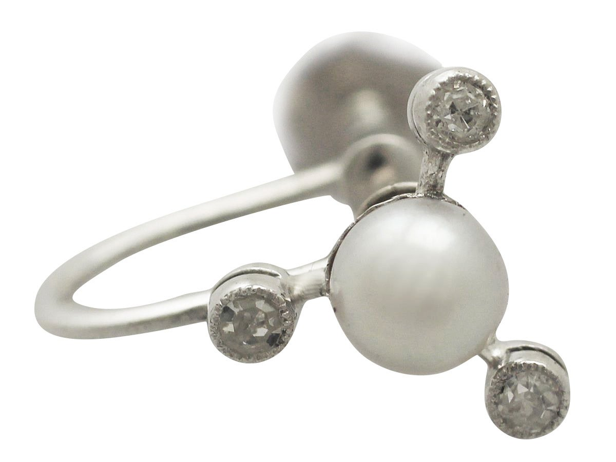 Women's Vintage Diamond and Pearl White Gold Earrings For Sale