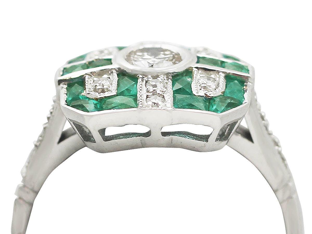 42 ct emerald and 0 50 ct diamond 18 ct white gold dress ring image 2