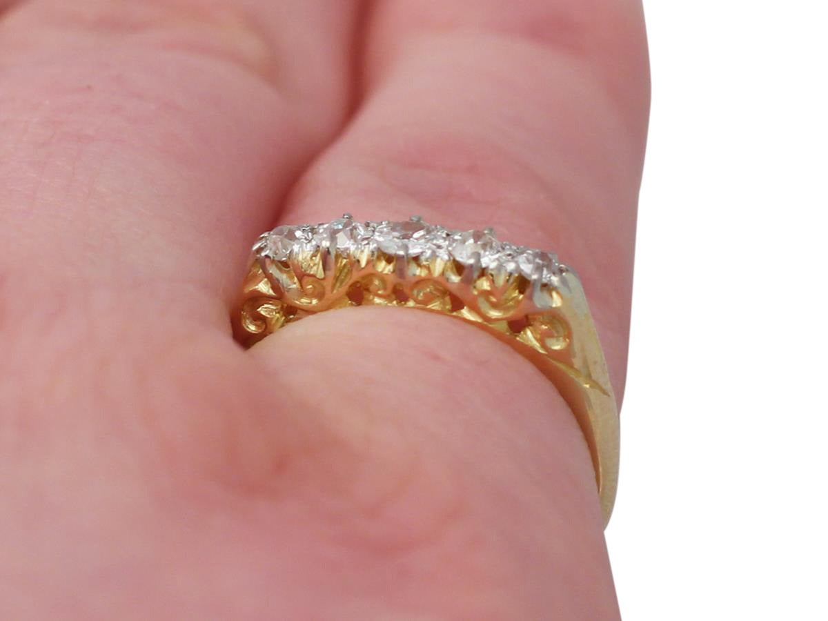 1910s Antique Diamond and Yellow Gold Five-Stone Ring For Sale at ...