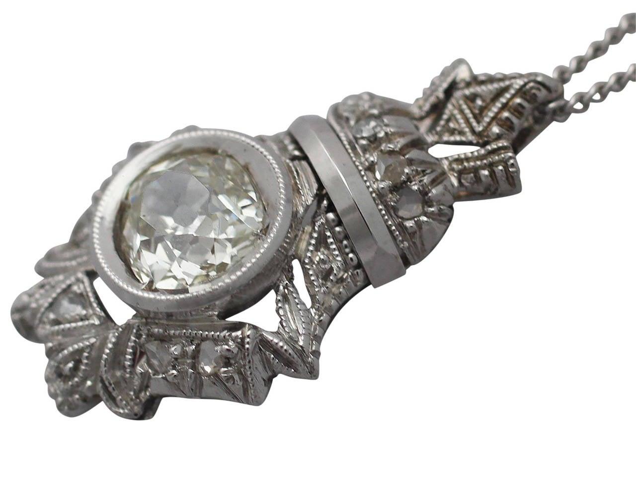 Women's 0.84 Carat Diamond and 18 Karat White Gold Pendant, Antique, circa 1900 For Sale