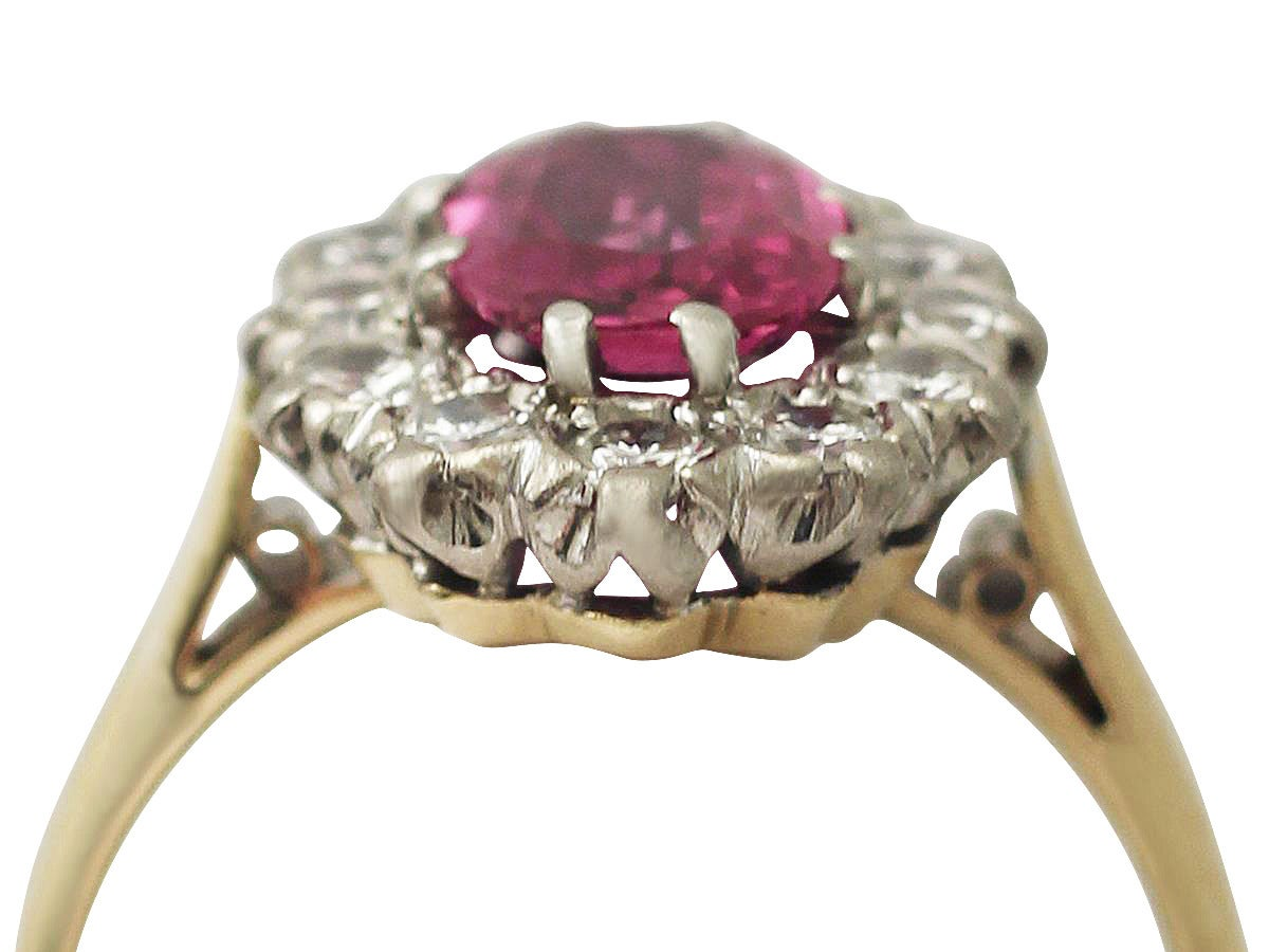 1.26Ct Ruby & 0.60Ct Diamond, 18k Yellow Gold Cluster Ring - Vintage Circa 1950 2