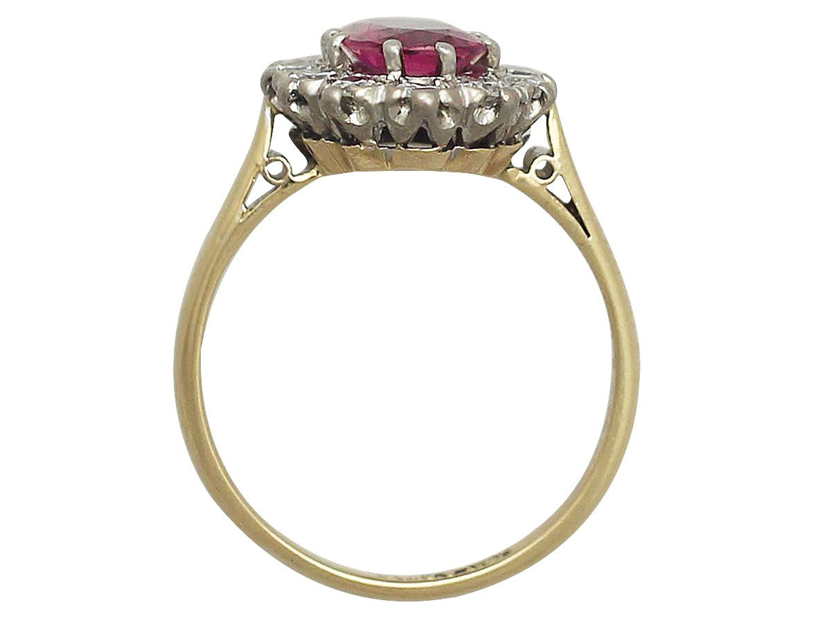 1.26Ct Ruby & 0.60Ct Diamond, 18k Yellow Gold Cluster Ring - Vintage Circa 1950 5