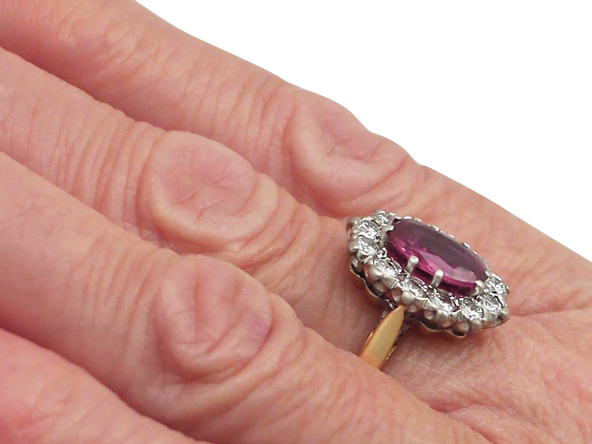 1.26Ct Ruby & 0.60Ct Diamond, 18k Yellow Gold Cluster Ring - Vintage Circa 1950 8