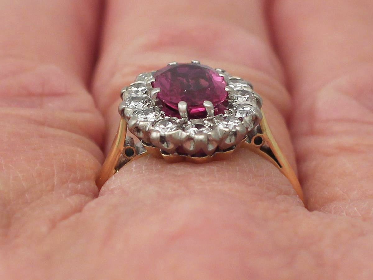 1.26Ct Ruby & 0.60Ct Diamond, 18k Yellow Gold Cluster Ring - Vintage Circa 1950 9