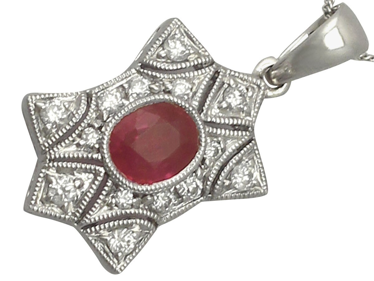 0.78 Ct Ruby and 0.28 Ct Diamond, 18 k White Gold Pendant - Contemporary 4