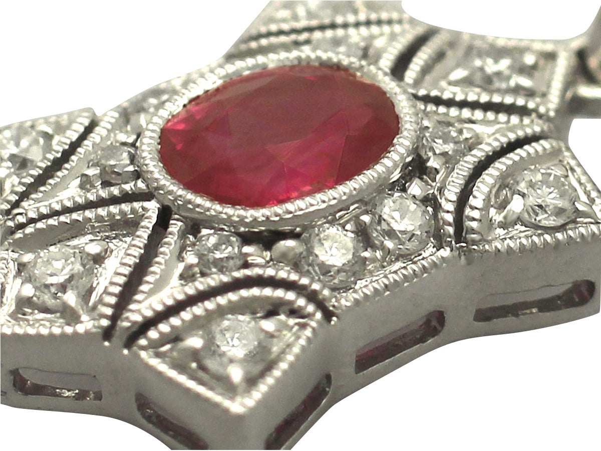 0.78 Ct Ruby and 0.28 Ct Diamond, 18 k White Gold Pendant - Contemporary 5