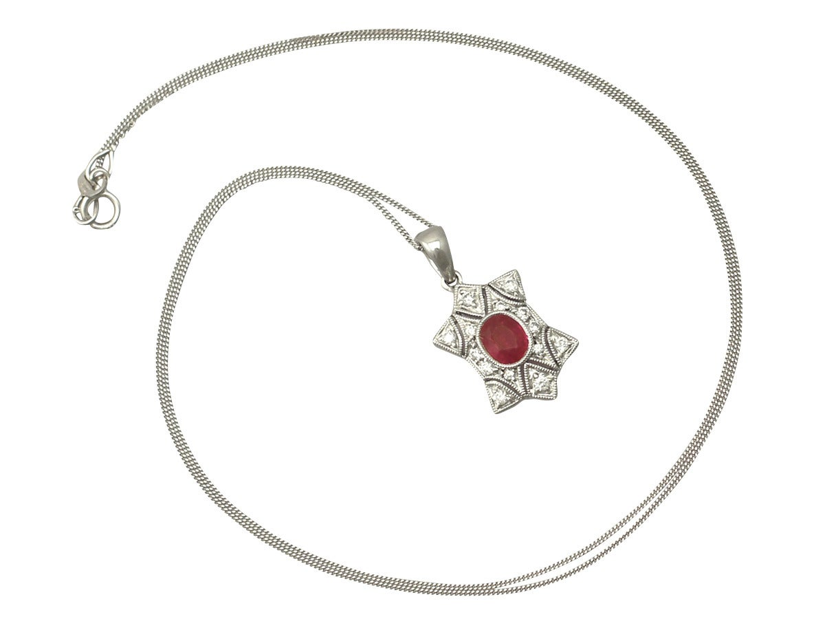 0.78 Ct Ruby and 0.28 Ct Diamond, 18 k White Gold Pendant - Contemporary 7