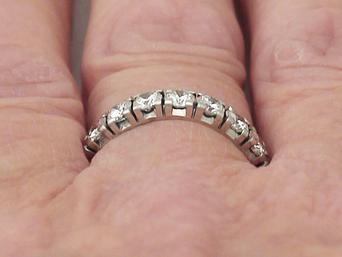 1.02Ct Diamond and 18k Yellow Gold Half Eternity Ring - Contemporary ...