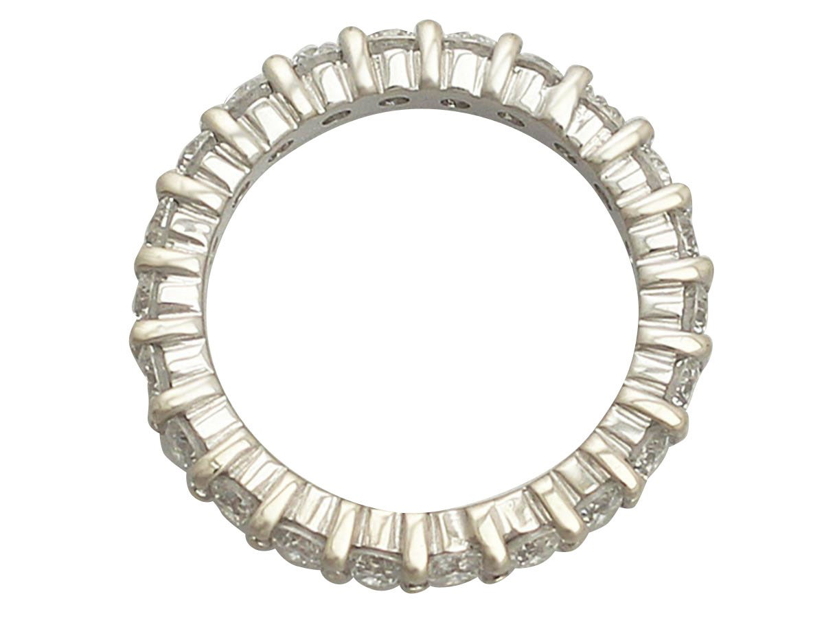 Women's 3.38Ct Diamond and 18k White Gold Full Eternity Ring - Vintage Circa 1990 For Sale