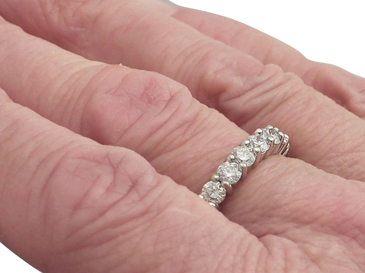 3.38Ct Diamond and 18k White Gold Full Eternity Ring - Vintage Circa 1990 For Sale 3
