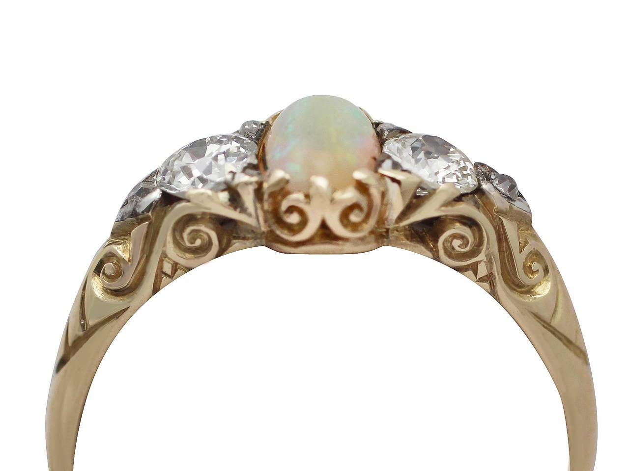 0.48Ct Opal & 0.76Ct Diamond 18k Yellow Gold Trilogy Ring - Antique Victorian 2