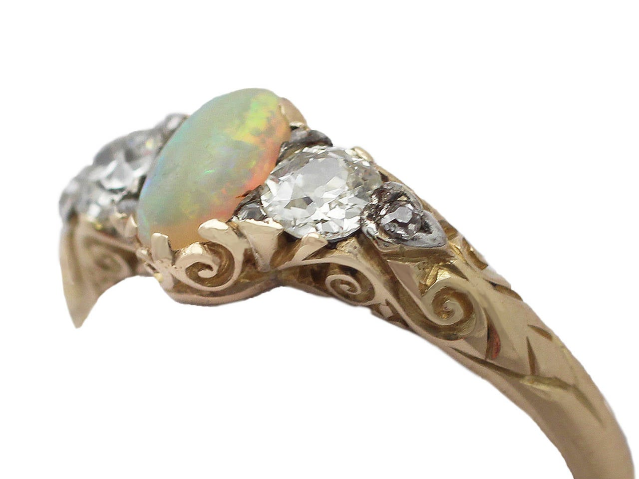0.48Ct Opal & 0.76Ct Diamond 18k Yellow Gold Trilogy Ring - Antique Victorian 3