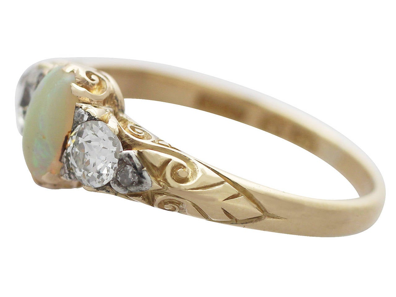0.48Ct Opal & 0.76Ct Diamond 18k Yellow Gold Trilogy Ring - Antique Victorian 4