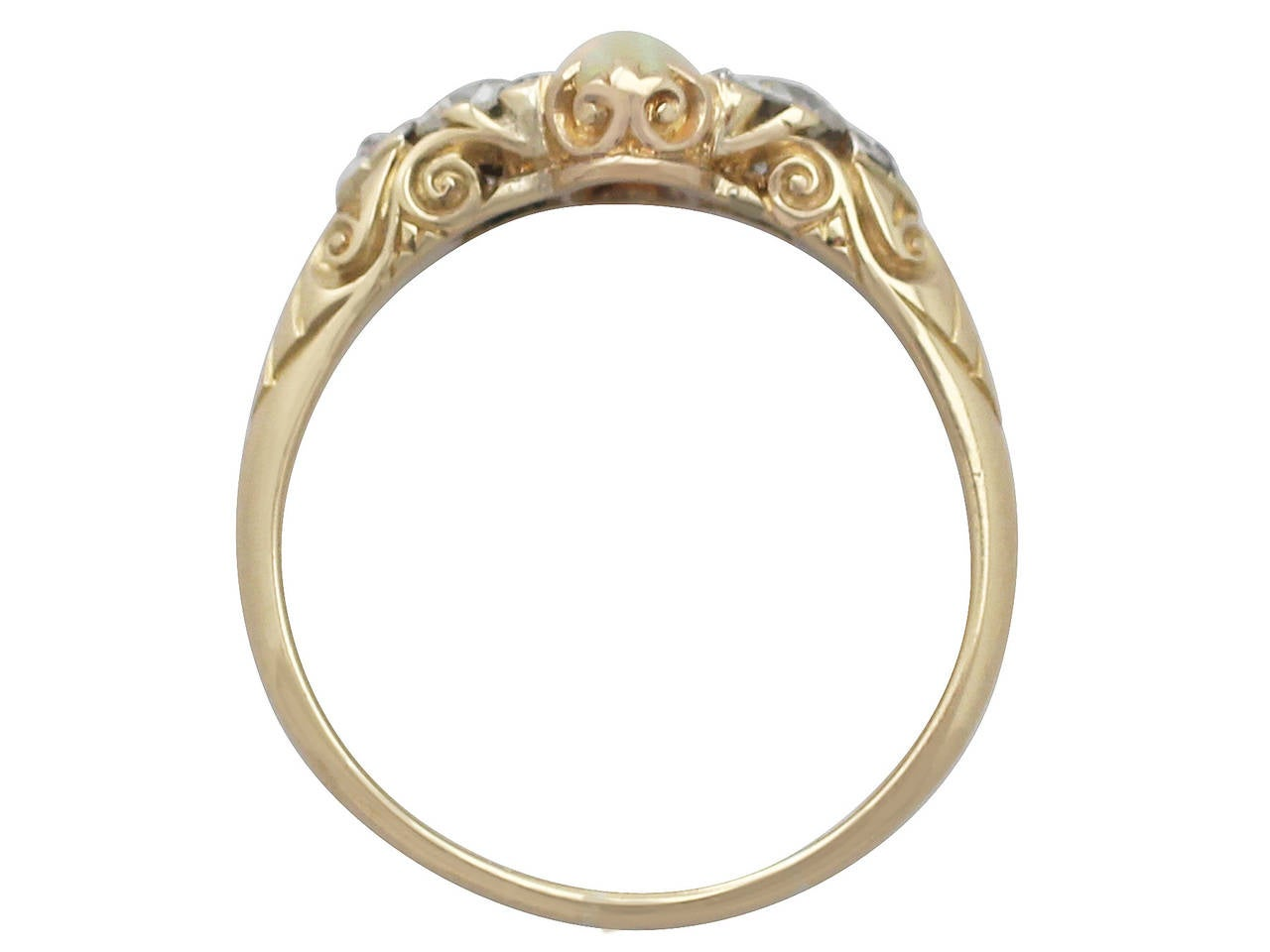 0.48Ct Opal & 0.76Ct Diamond 18k Yellow Gold Trilogy Ring - Antique Victorian 5