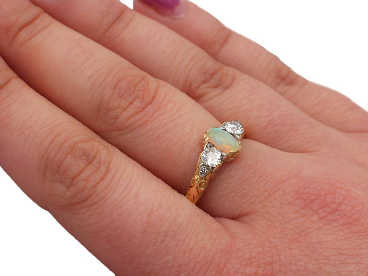 0.48Ct Opal & 0.76Ct Diamond 18k Yellow Gold Trilogy Ring - Antique Victorian 8