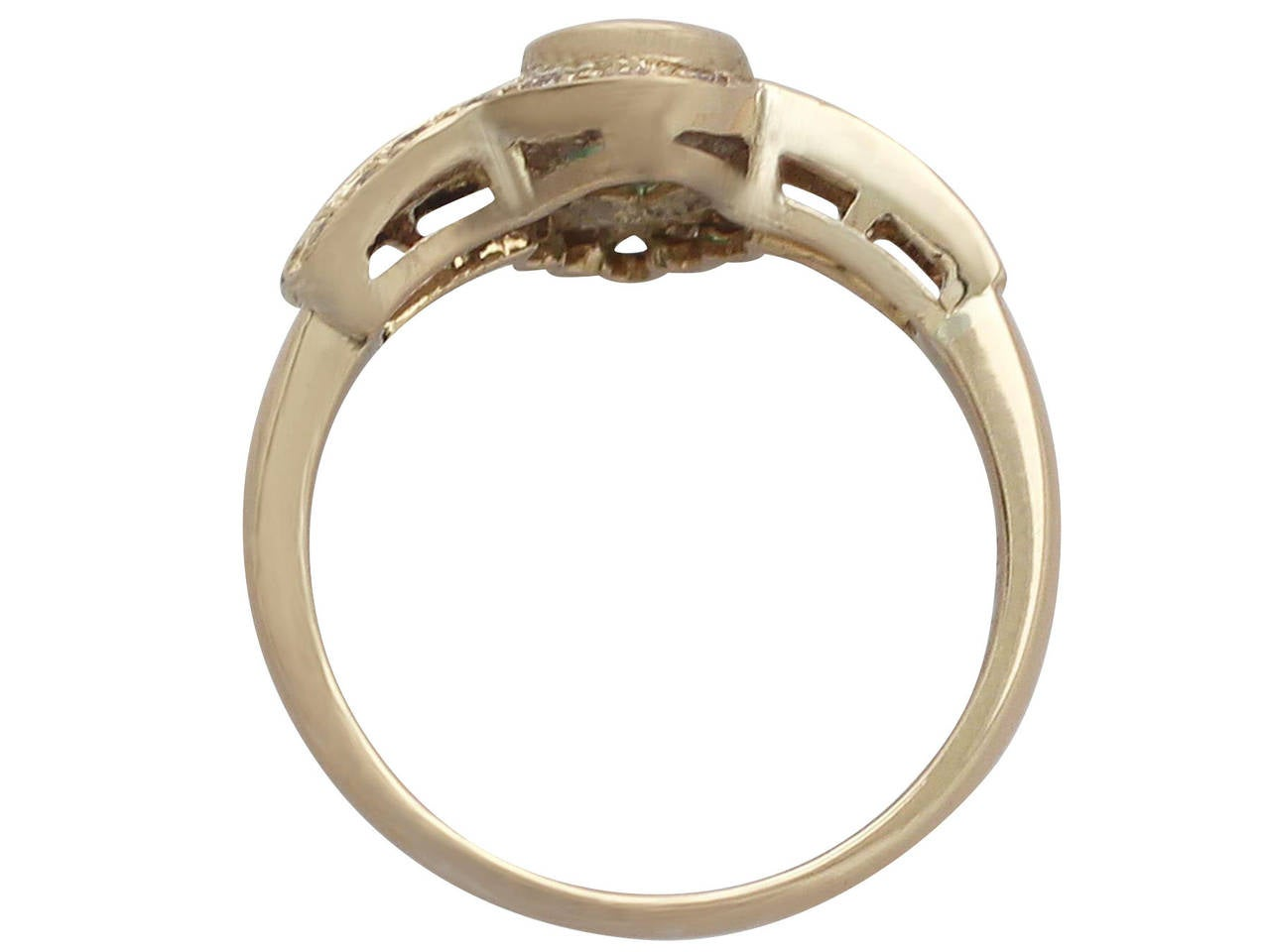 Women's Emerald & Diamond Yellow Gold Cocktail Ring For Sale