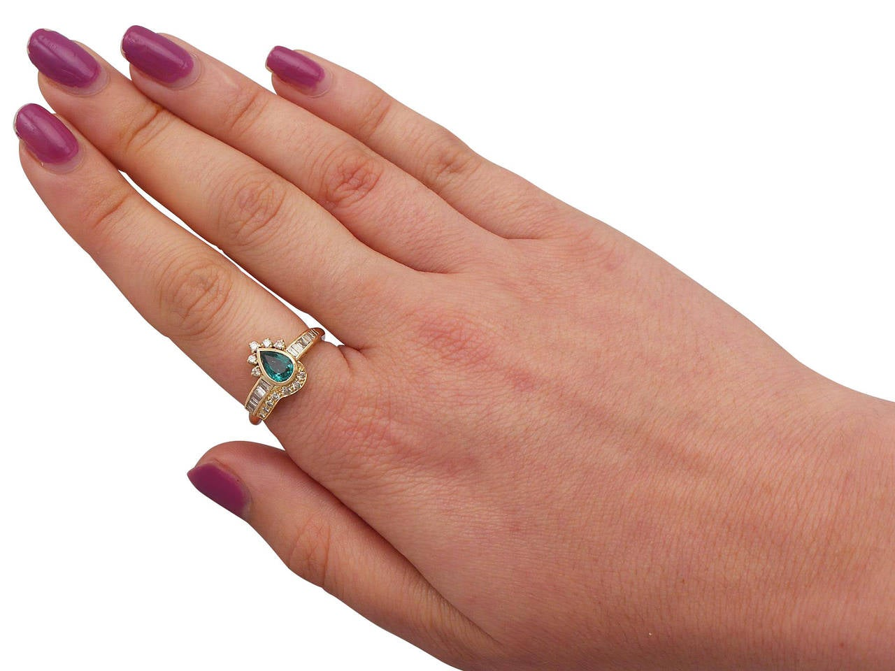 Emerald & Diamond Yellow Gold Cocktail Ring For Sale 2