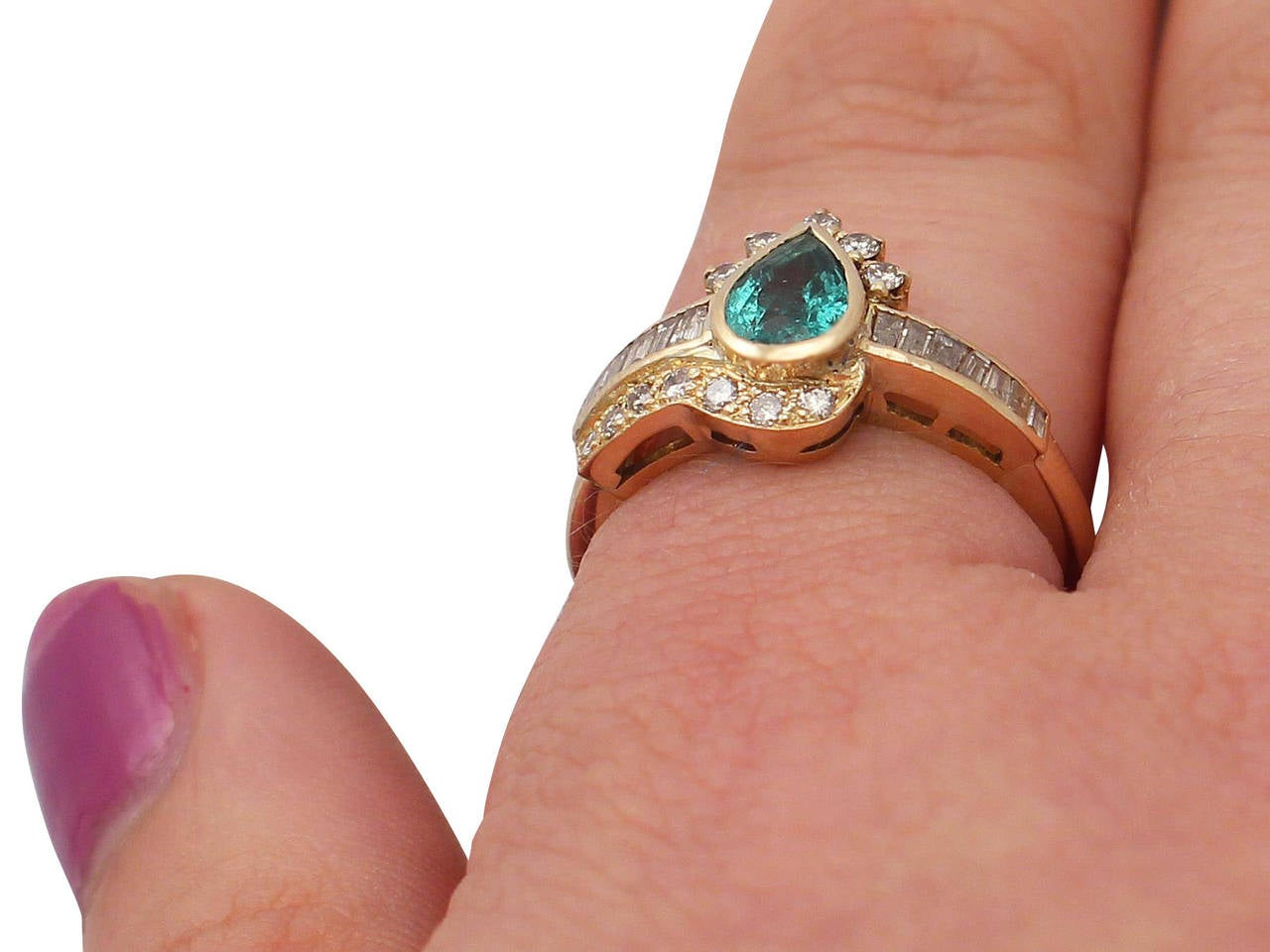 Emerald & Diamond Yellow Gold Cocktail Ring For Sale 3